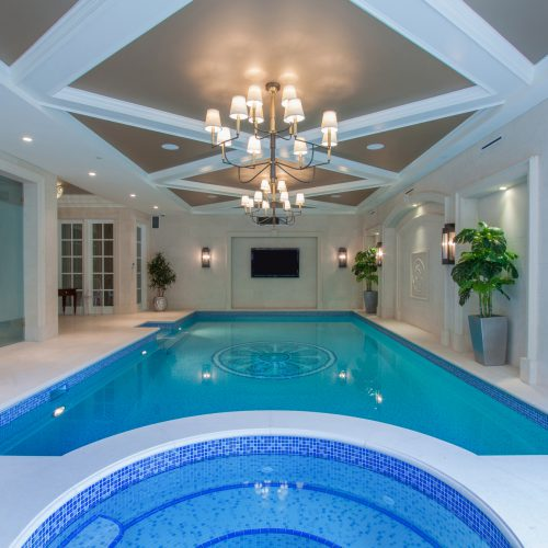 Indoor swimming pool with built in hot tub