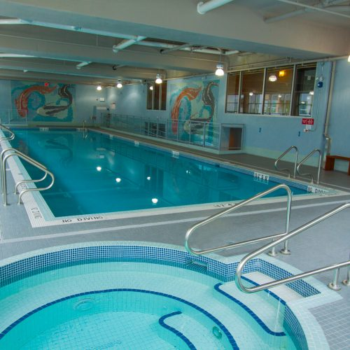75 foot commercial pool with built in hot tub