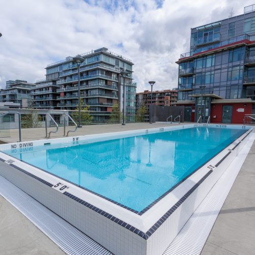 Large outdoor commercial swimming pool