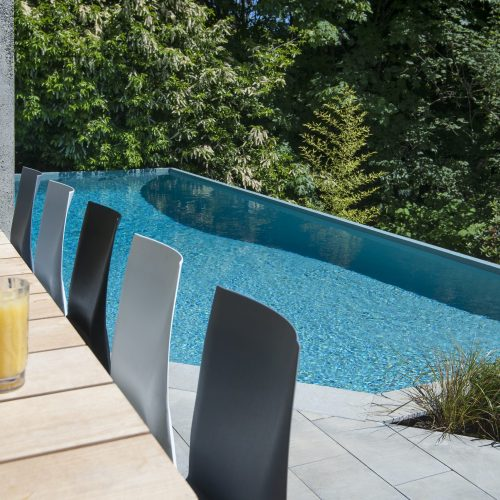 Swimming pool inspiration and pool planning - pool built into the landscape in Burnaby, Vancouver & British Columbia