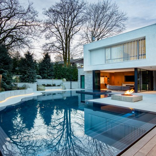 Grand international excellence award - pool with built in spa and fire pit
