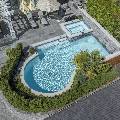 Cocktail pools in Burnaby, Vancouver & British Columbia. Aerial view of the pool.